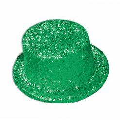 Chapeau haut de forme vert avec paillettes - GLITTER TOP HAT GREEN - St Patrick
