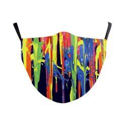 Reusable Safety Face Mask - multicolor paint print / Masque de protection lavable - imprimé peinture fraiche