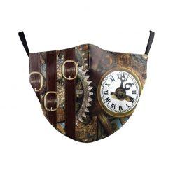 Reusable Safety Face Mask - steampunk clock print / Masque de protection lavable