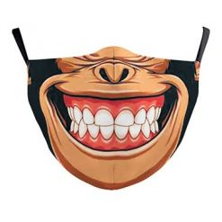 Reusable Face Mask - Monkey smile - washable cloth / Masque lavable en tissu - Singe souriant