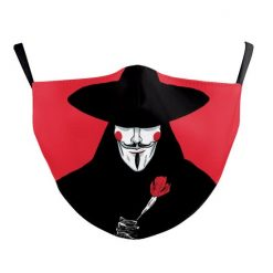 Reusable Face Mask - V Vendetta red - washable cloth / Masque lavable en tissus
